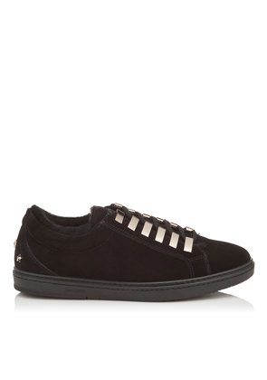 CASH Black Velvet Suede Low Top Trainers with Fur Lining