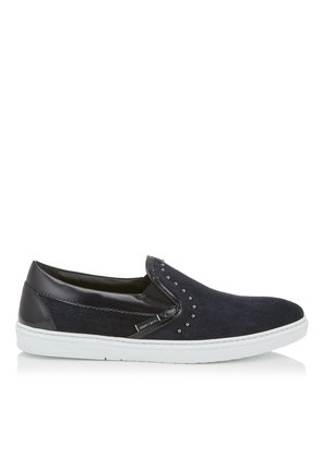 GROVE Navy Velvet Suede Slip On Trainers with Grey Pearl Trim