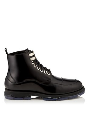 BALDWYN Black Shiny Calf Leather Boots with Shearling