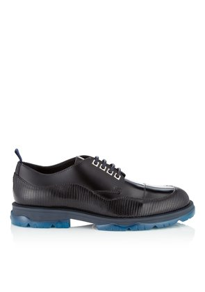 BASTI Navy Mix Lizard Print and Shiny Calf Leather Lace Up Shoes