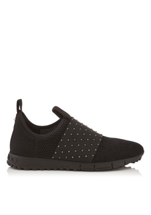 OAKLAND/M Black Glitter Suede Trainers with Gunmetal Pearl Elastic