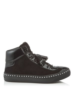 ARGYLE Black Velvet Suede High Top Trainers with Pearl Trim