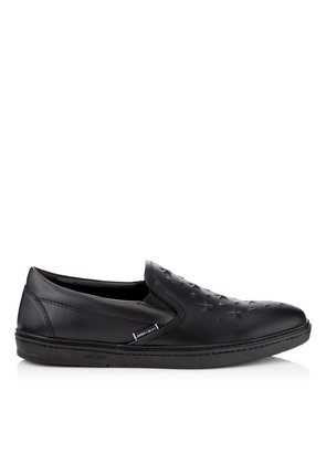 GROVE Black Sport Calf Leather Slip On Trainers with Embossed Stars