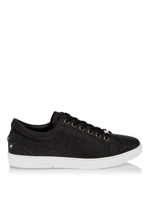 CASH Black Fine Glitter Leather Low Top Trainers