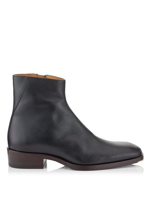 LUCAS Black Pebbled Vacchetta Leather Ankle Boots