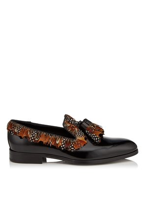 FOXLEY Black Shiny Calf Leather Slippers with Almond Mix Feather Trim and Tassel