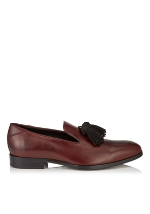 FOXLEY Bordeaux Soft Nappa Leather Tasselled Slippers