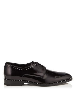 STEFAN Black Shiny Calf Leather Lace Up Shoes with Grey Pearl Trim