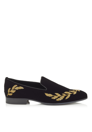 SAUL Black Velvet Slipper Shoes with Gold Feather Embroidery