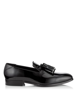 FOXLEY Black Patent Leather Tasselled Slippers with Pearl Detailing