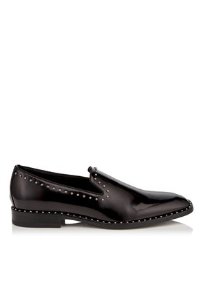 SAUL Black Shiny Calf Leather Slipper Shoes with Pearl Trim
