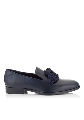 FOXLEY Navy Soft Nappa Leather Tasselled Slippers