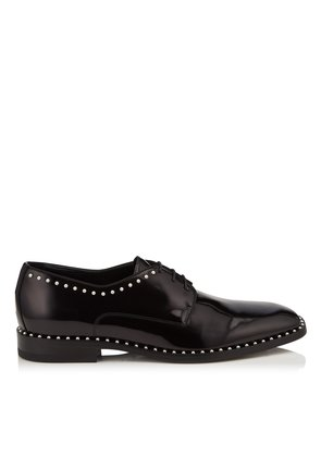 STEFAN Black Shiny Calf Leather Lace Up Shoes with Pearl Trim