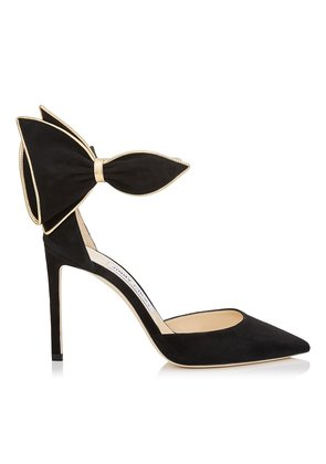 KELLEY 100 Black Suede Pointy Toe Pumps with Gold Metallic Nappa Leather Piping