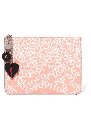 Christian Louboutin - Loubicute Embellished Printed Leather Clutch - Antique rose