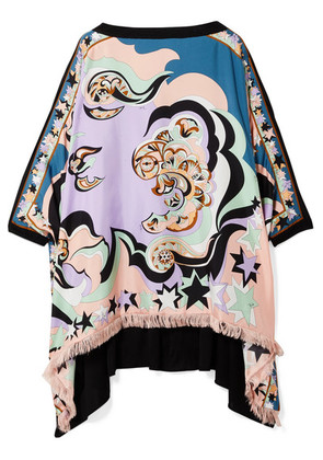 Emilio Pucci - Edie Fringed Printed Silk-twill And Chiffon Top - Lilac