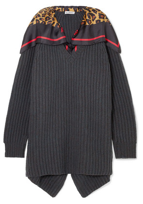 Balenciaga - Printed Silk-trimmed Ribbed Wool Sweater - Charcoal
