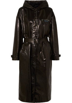 Prada - Hooded Patent-leather Trench Coat - Black