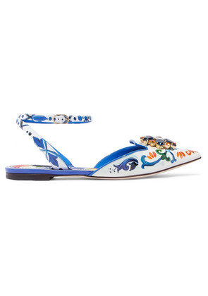 Dolce & Gabbana - Embellished Printed Patent-leather Point-toe Flats - Blue
