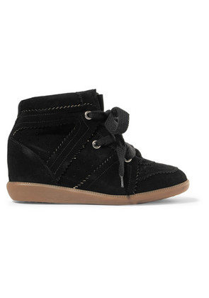 Isabel Marant - Bobby Suede Wedge Sneakers - Black