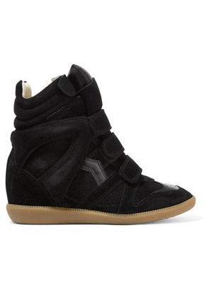 Isabel Marant - Bekett Leather-trimmed Suede Wedge Sneakers - Black