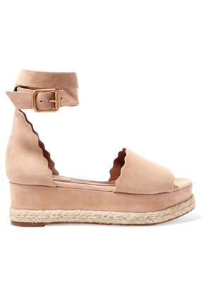 Chloé - Lauren Suede Espadrille Platform Sandals - IT39