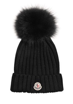 WOOL KNIT BEANIE HAT W/ FOX POMPOM