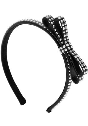 STUDDED LEATHER HEADBAND WITH BOW