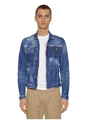 BLEACHED SPOTS COTTON DENIM JACKET