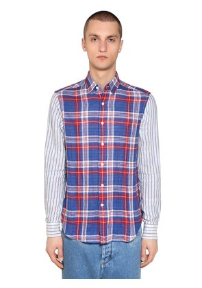 STRIPES & CHECKS PATCHWORK SHIRT