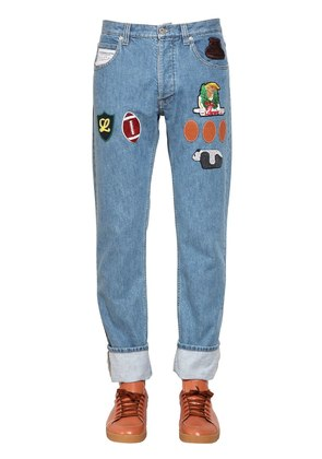 PATCH COTTON DENIM JEANS