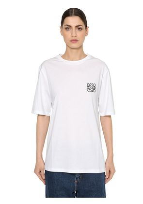 OVERSIZE LOGO EMBROIDERED JERSEY T-SHIRT