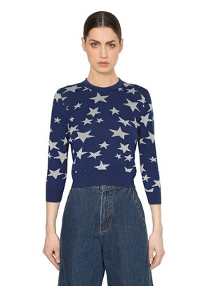 WOOL KNIT SWEATER W/ LUREX STARS