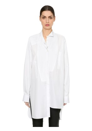 ASYMMETRICAL COTTON POPLIN SHIRT
