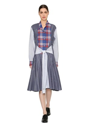 PATCHWORK CHECK & STRIPED POPLIN DRESS