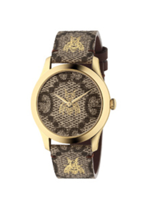 Gucci 38MM G-Timeless Bee Print Watch in Brown