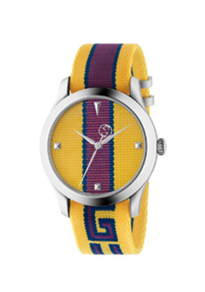 Gucci 38MM G-Timeless Logo Strap Watch in Yellow