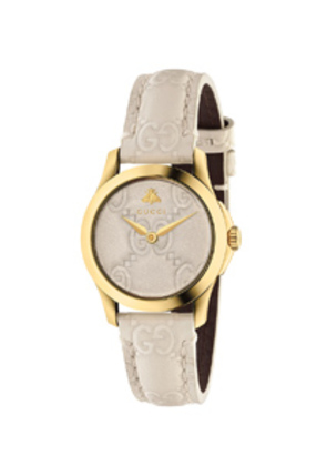 Gucci 27MM G-Timeless Logo Embossed Strap Watch in White