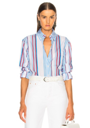 Equipment Margaux Top in Blue,Stripes,White
