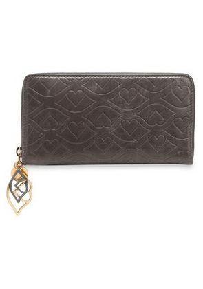 See By Chloé Woman Embellished Embossed Leather Wallet Dark Brown Size -