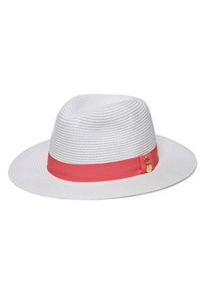 Melissa Odabash Woman Grosgrain-trimmed Straw Fedora Light Gray Size ONESIZE