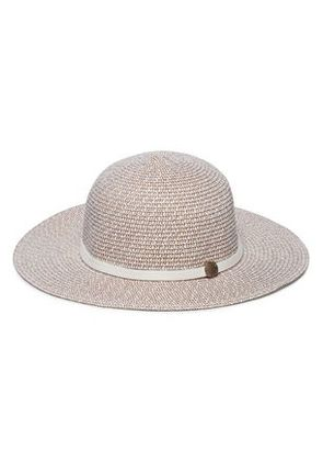 Melissa Odabash Woman Colette Leather-trimmed Straw Sunhat Taupe Size ONESIZE