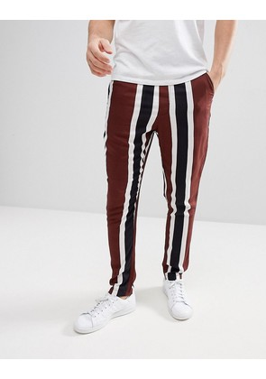 ASOS Tapered Trousers With Block Stripe Detail - Brown