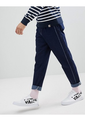ASOS Double Pleat Jean In Recycled Cotton with Side Stripe - Indigo