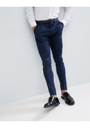 ASOS Super Skinny Smart Trousers In Navy Cotton Sateen - Navy