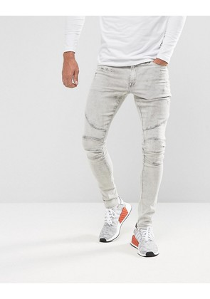 ASOS Extreme Super Skinny Jeans In Light Grey Biker And Hem Detail - Light grey