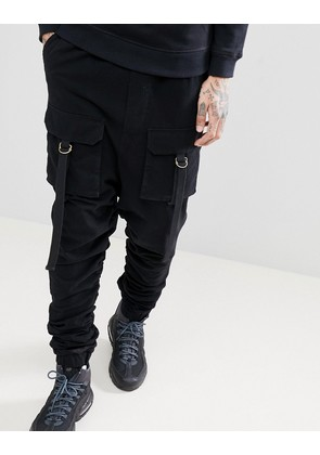 ASOS Drop Crotch Joggers With Ruched Detail And Pockets In Grey - Black