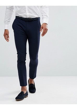 ASOS Extreme Super Skinny Cropped Smart Trousers in Navy - Navy