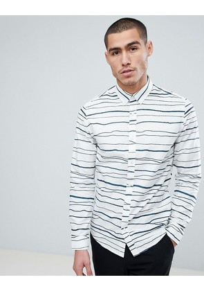 Only & Sons Slim Fit Shirt With Broken Stripe - White