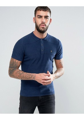 Farah Oxford Knitted Polo Shirt - Blue